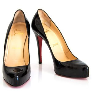Christian Louboutin Black Patent Leather Platform Rolando Pumps