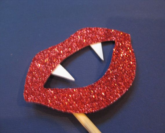 Photo Booth Props - GLITTER Vampire Lips on sticks - Set of 6 Glitter Photobooth Props