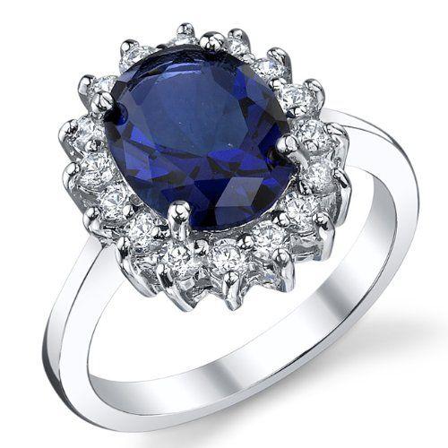 Kate Middleton Bague Argent 925/1000 Saphir Bleu Zirconia Cubique Pour Femme Taille 57