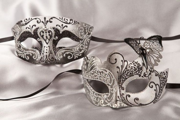 Venetian Masquerade Masks for Couples -  Silver Trim Butterfly Masks