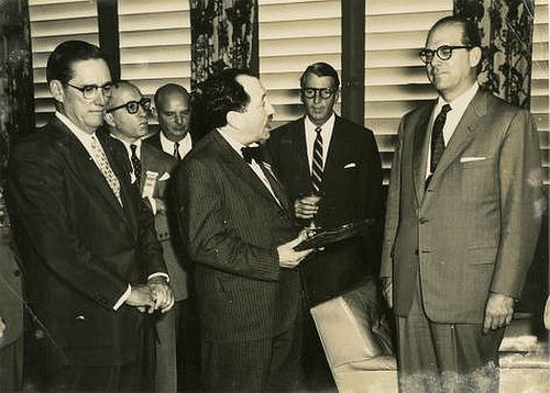 Abel and Goar Mestre with Juan Amador Rodríguez 31-Oct 1956 Radio broadcaster Juan Amador Rodríguez (center) with radio and television pioneers and CMQ owners Abel Mestre (left) and Goar Mestre (right). (u of Miami Cuban Heritage Collection). For information about Cuban History of this period please visit Cuba 1952-1959
