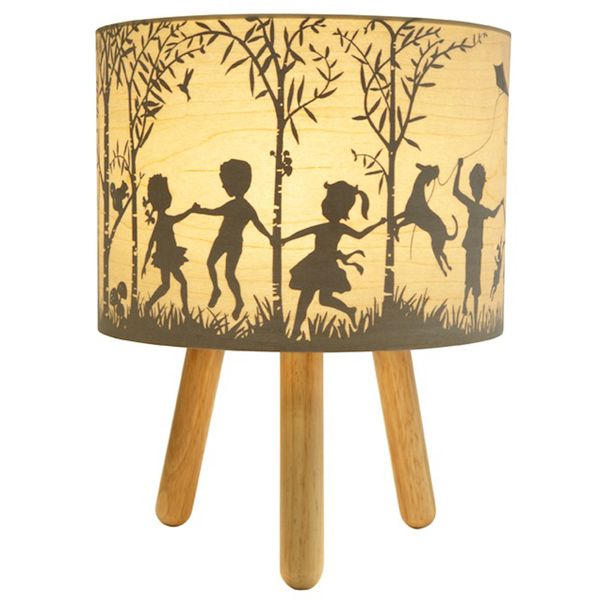 In The Woods Table Lamp (Lighting). This lamp features a timber veneer shade  on lovely timber tripod legs with