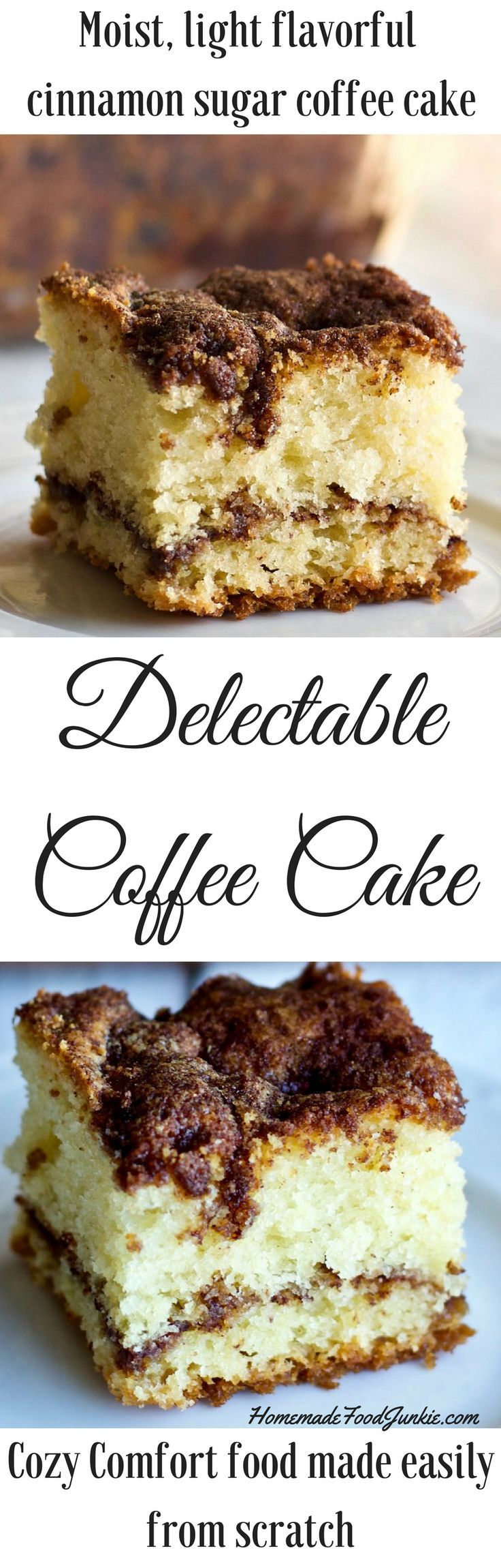 Delectable Coffee Cake is a moist light coffee cake with a cinnamon sugar streusel made entirely from scratch with coconut oil.
