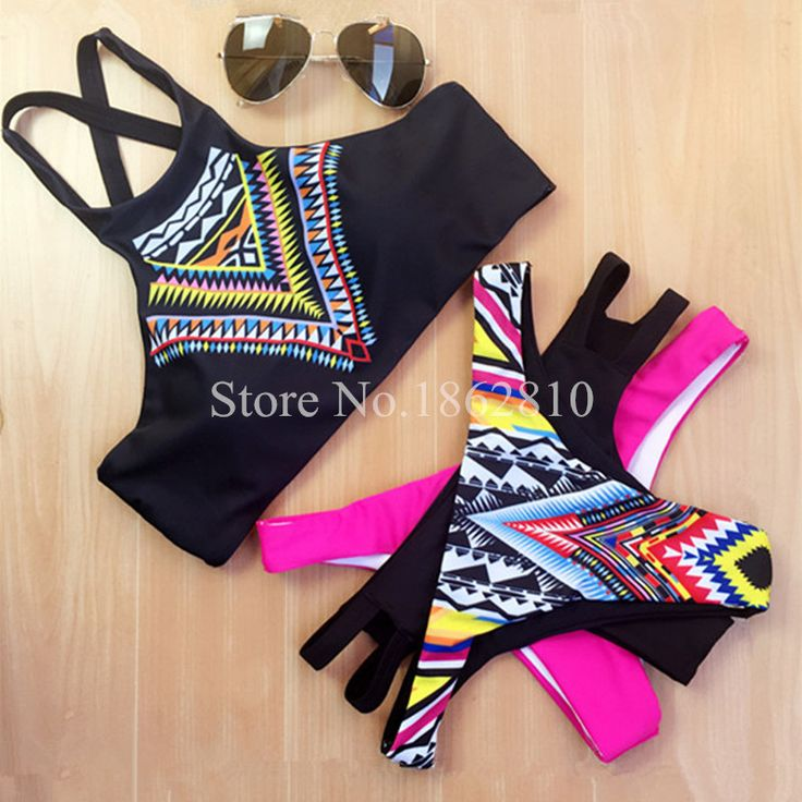 2016 New Arrival Women Bikinis High Neck Push up Bikini Set Geometry Black Swimwear Slim Print Swimsuit Biquini Brazil Beach * Find out more about the great product at the image link.