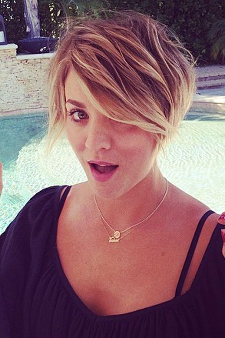 """July 6, 2015 - Color: very blonde, either cool or warm; Cut: short on side(s) and back, longer up top for versatility in styling // Cut // Kaley Cuoco debuts new """"Peter Pan"""" pixie cut hairstyle //"""