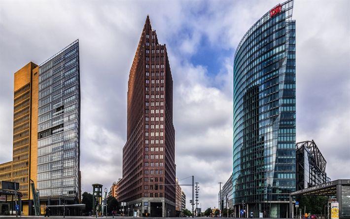 Download wallpapers Berlin, modern buildings, skyscrapers, glass facades, Germany