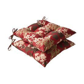 Pillow Perfect Montifleuri Red Brown Floral Seat Pad For Universal 386