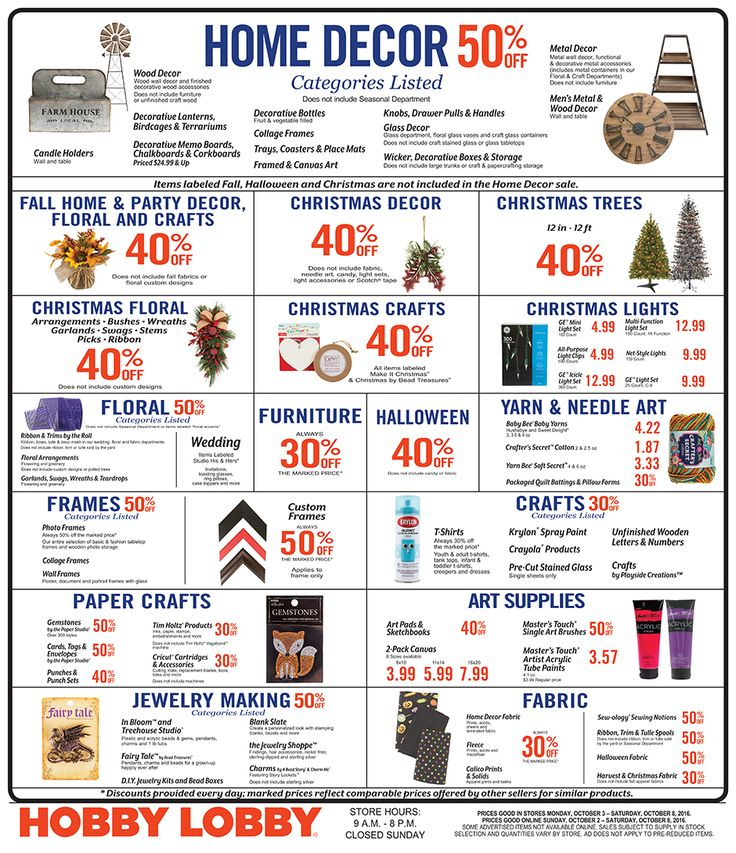 Hobby Lobby Weekly Ad October 2 - 8, 2016 - http://www.olcatalog.com/grocery/hobby-lobby-weekly-ad.html