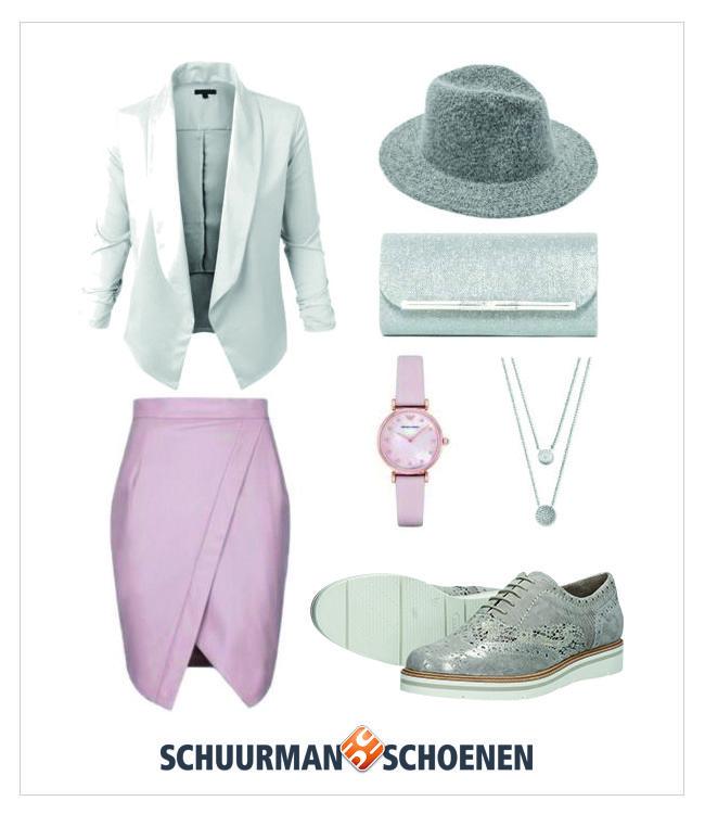 Voor een classy outfit kies je voor een mooie kokerrok met split, witte colbert, zilveren clutch met glitters, roze horloge en layered ketting. De stoffen hoed en de brogue veterschoenen van Choizz Exclusive geven je outfit net dat beetje extra! Klik om de schoenen in onze webshop te bekijken.