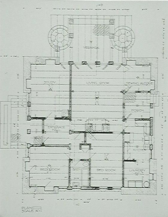 Griffin WB: House Sydney Johnson House Castlecrag plan 1921