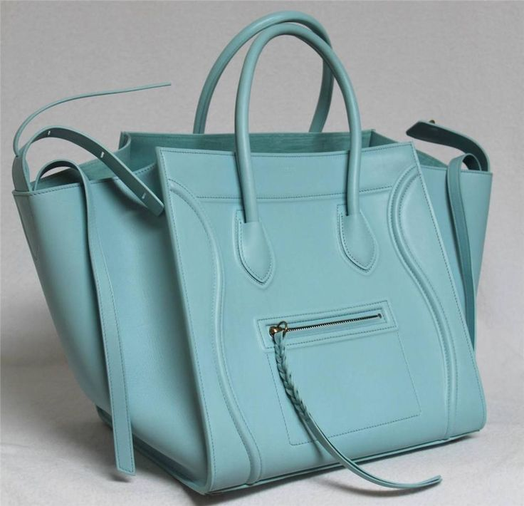 New Azure Runway Celine Phantom Luggage Smooth Leather Medium Tote ...