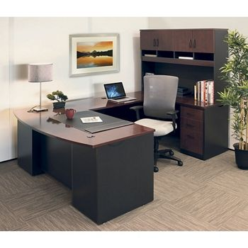 72W Executive Bowfront U-Desk with Hutch and High Back Chair  - 14829 and more Lifetime Guarantee