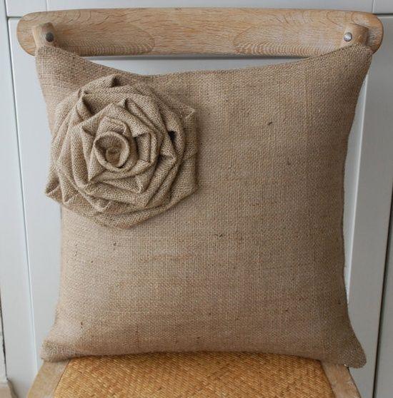 burlap rosette pillow