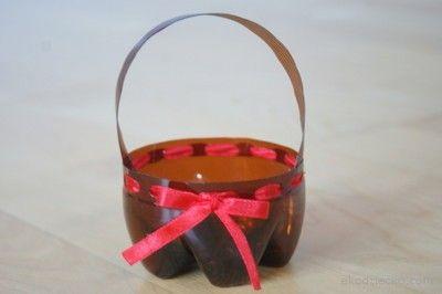 Wielkanocny koszyczek z plastikowej butelki. REcykling.  Easter basket with plastic bottle. Recycling.
