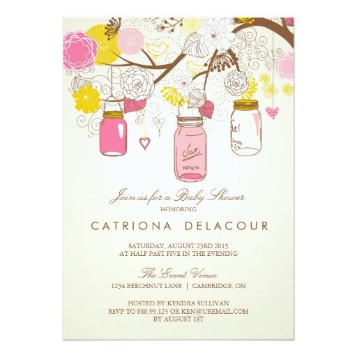 Vintage Pink Mason Jars Baby Shower Invitation