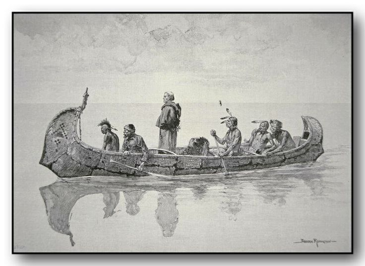 """This is a very detailed drawing by Frederic Remington titled """"The Missionary"""". There are four natives, a guide/trader and a missionary [standing] in this very large 'north' type of birch bark canoe."""