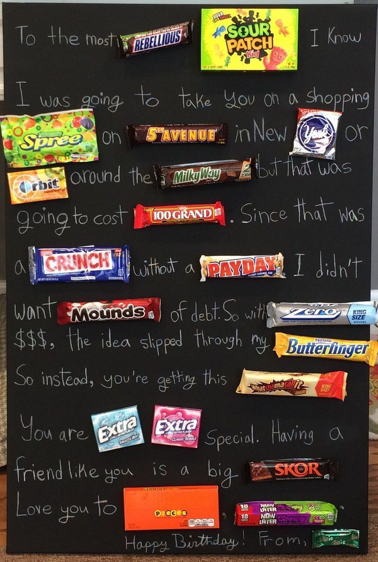 Teenage candy board. White pencil on black painted canvas. Great Birthday gift f…