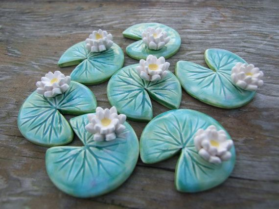 Water lily brooch ceramic green leaf Spring by damsontreepottery