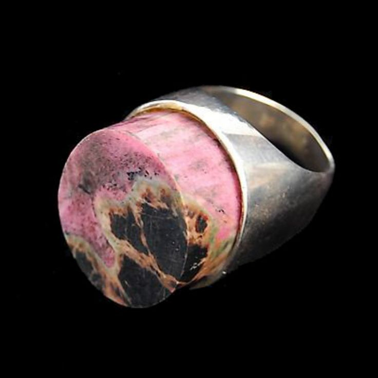 Ring |  Designer Unknown (pre 1960) Sterling silver and pink jasper