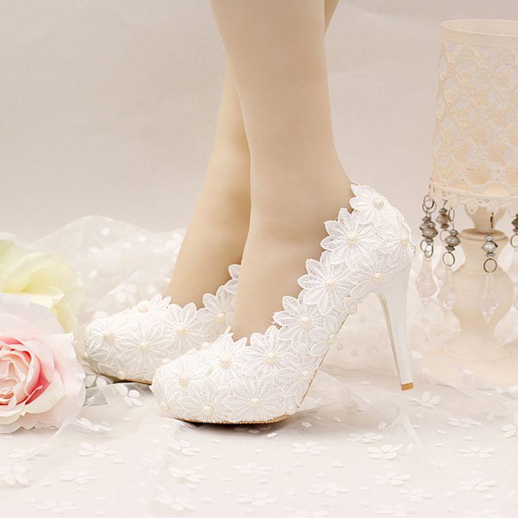 Weiß Spitze Blume Hochzeit Schuhe High Stiletto Formelle kleidung Schuhe Braut Bankett Partei Schuhe Frauen Pumpen Brautjungfer Schuhe //Price: $US $50.39 & FREE Shipping //     #abendkleider