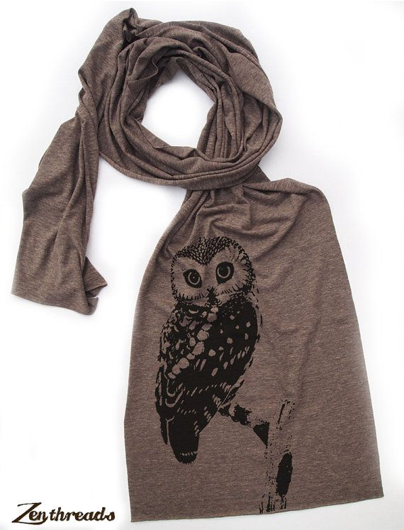 OWL Scarf - Unisex Long Vintage Soft Tri Blend Jersey american apparel (3 Color Options). $18.00, via Etsy.