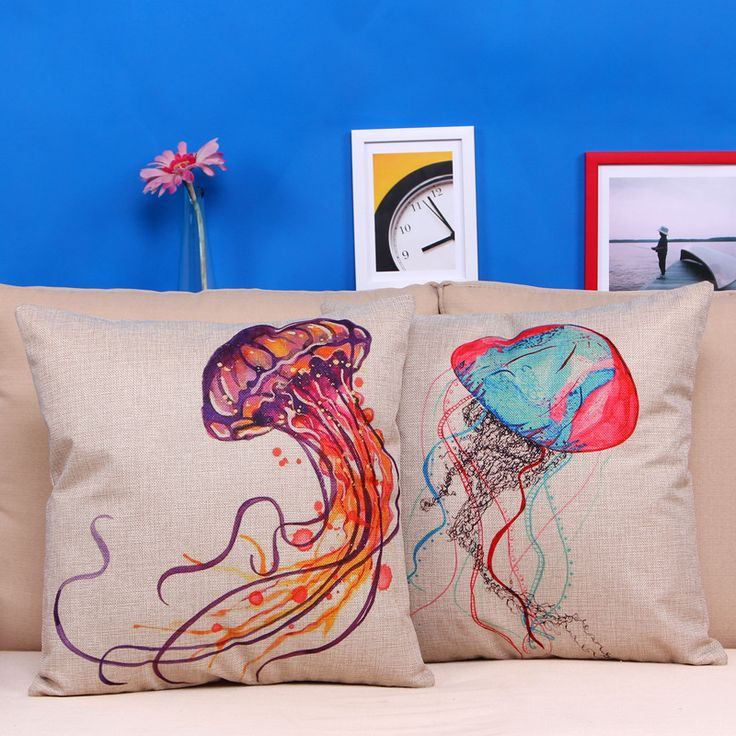 Cotton Linen Decorative Pillow Case Colorful Jellyfish Printed Home Seat Pillowcases 45x45cm Cojines sx09