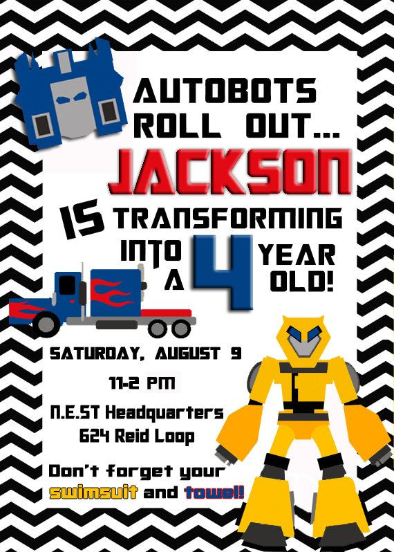 No kid should have to choose between Bumble Bee or Optimus Prime on their birthday. This incredibly cute Transformer invite is custom made for your child for only $10!