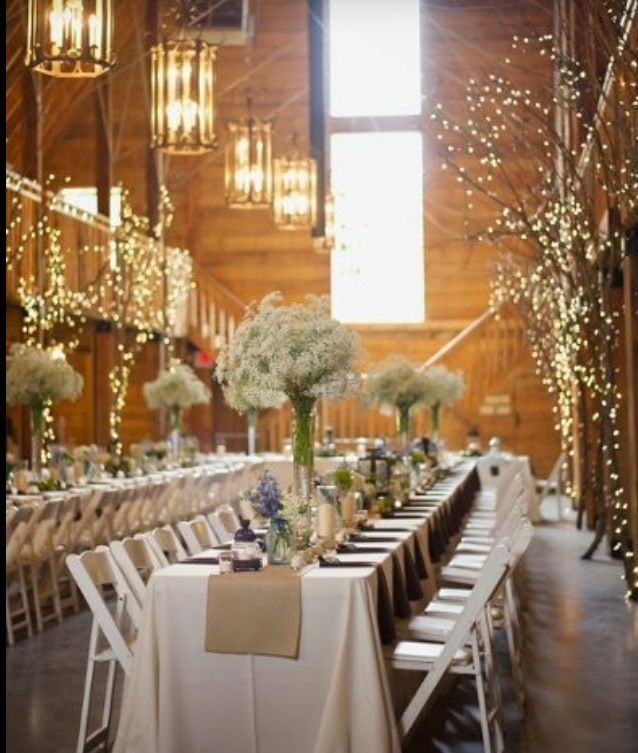 Winter Wedding Branches With Xmas Lights Cheap Decor Barn