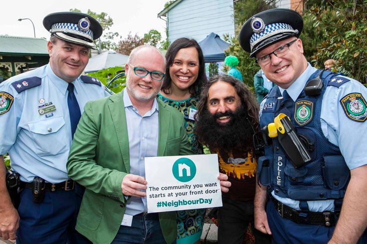 The community you want starts at your front door™   I founded Australia's annual celebration of community, Neighbour Day, in Melbourne in 2003 after an elderly woman was discovered in her home more than two years after she had died.  In 2014 I gifted Neighbour Day in perpetuity to Relationships Australia.   Pictured here in February 2017 at the national launch in Sydney with my fellow Ambassadors, Natalie Ahmat and Costa Georgiadis, plus Daryl and Matt from the Local Area Command, NSW…