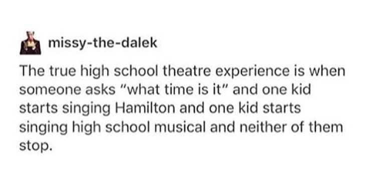 Except instead of high school theatre it's just my head at constant war with itself