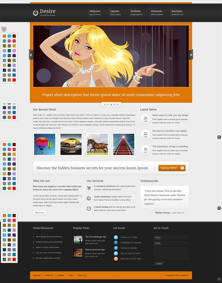 #Blog and #Portfolio #WordPress #Theme. Desire is a premium Wordpress theme with 30 pre-made skins. This theme is perfect for all businesses, corporations and creative portfolio sites. It has powerful CMS functionality and a long list of premium features. Theme Features 2 jQuery Sliders Skitter Slider Nivo Slider Unlimite Portfolio and Galleries Classic 1 to 4 Column Portfolios with Pagination Sortable 2,3 and 4 Column Portfolios Portfolio Single Photo Gallery with Small, Medium and Large…