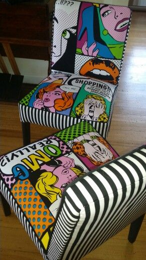 Pop art chairs by Sally Noble