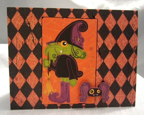 Cute Spooky Little Green Witch Happy by WistfulWhimsyDesigns