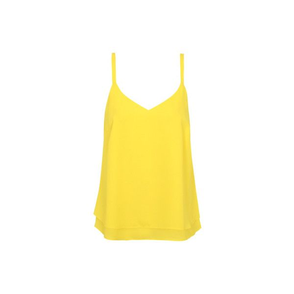 George V-neck Camisole ($6.13) ❤ liked on Polyvore featuring yellow, v neck cami, chiffon camisole, yellow camisole, yellow cami and v-neck camisoles