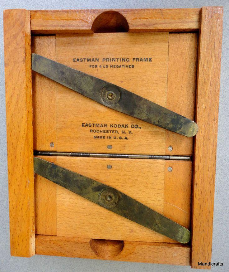 Eastman #Kodak Photography Contact #Printing Frame Wood for 4x6 negatives Dark Room Tool Vintage