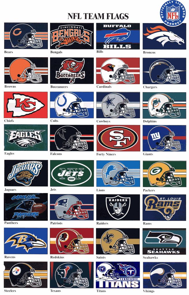 NFL Football Team Color Chart | Thread: The Official NFL FC