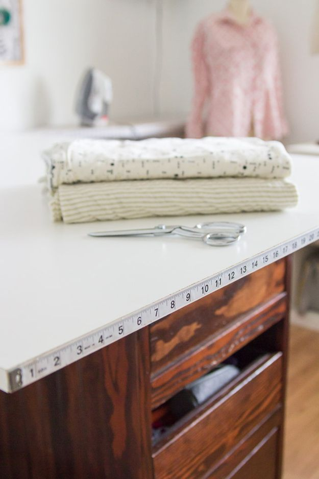 Sewing Hacks | Best Tips and Tricks for Sewing Patterns, Projects, Machines, Hand Sewn Items. Clever Ideas for Beginners and Even Experts | Cutting Tables With Measuring Tape | http://diyjoy.com/sewing-hacks
