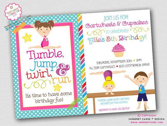 Adorable DIGITAL/PRINTABLE Cupcakes & Cartwheels - BOY GIRL Gymnastics Birthday Party Invitation. This is the NON-PHOTO BOY GIRL version that