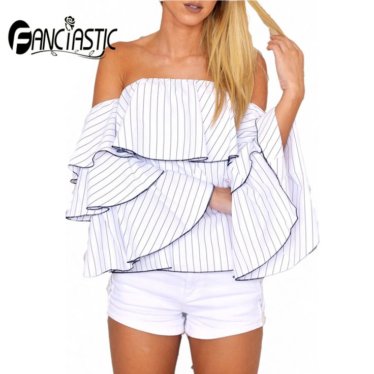 Fanciastic Summer Sexy Female's Shirts Slash-Neck Backless Striped Chiffon Blouse Ruffles Flare Sleeves Off The Shoulder Shirts #Affiliate