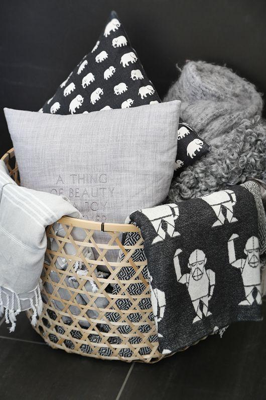 Via Trendenser | MiniFellow Blanket | Finlayson Elefantti Pillow | Ikea Basket | Black White Grey