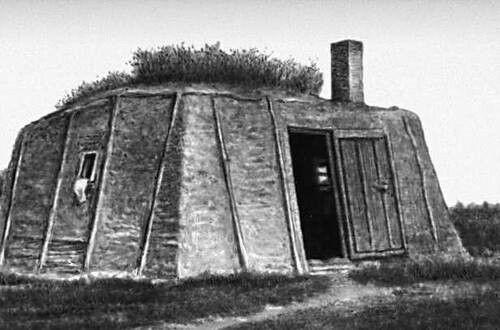 Балаган- зимнеежилищеякутов. Это невысокая, вытянутая в длину четырехугольная постройка, из наклонных бревен.