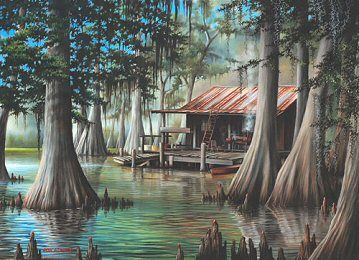 """""""The Swamp"""" by Ron Attwood  Ron was so nice to meet at the Revel last year. He personalized this print for us."""