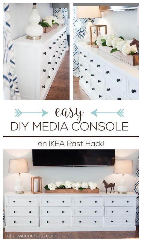 Easy DIY IKEA Rast Hack Media Console wtih tons of storage | inbetweenchaos.com