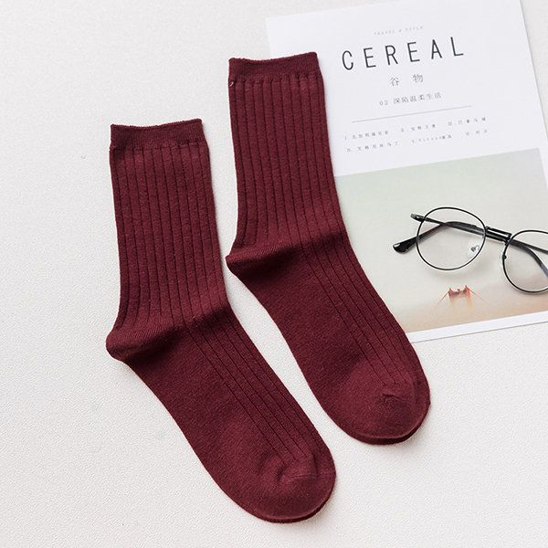 Men Long Solid Stripe Socks Cashmere Wool Thickening Classic Casual Sport In Tube Massage Stocking