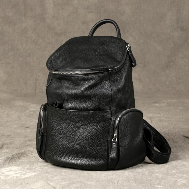 Black Leather Backpack Purse, Travel Leather Backpacking GZ039