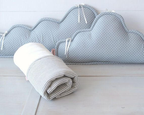 Crib/cradle Clouds bedding set  grey & cream by PocketsKidsKingdom, $96.00