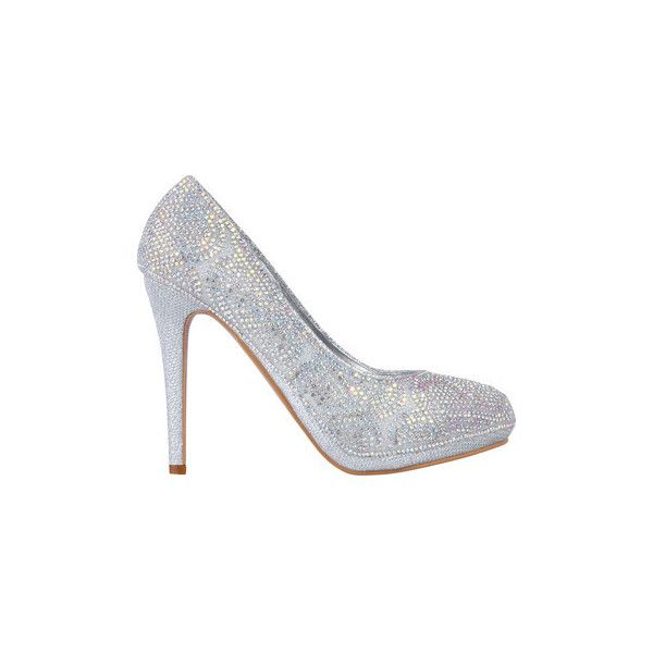 Krisp Diamante Embellished Platform Heels {Silver} Court Shoes ($36) ❤ liked on Polyvore featuring shoes, pumps, court shoes, silver, women, embellished shoes, silver pumps, platform shoes, embellished pumps and diamante shoes
