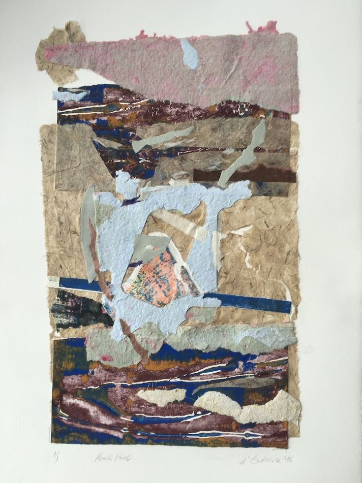 ELAINE d'ESTERRE - Rock Pool, 2016, collage from handmade paper and viscosity collagraph prints, 40x30 cm by Elaine d'Esterre at http://elainedesterreart.com and https://www.facebook.com/elainedesterreart and http://insytagram.com/desterreart/