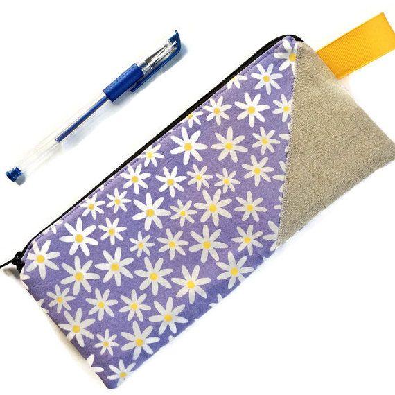 Fabric Pencil Case / Lavender Daisy Pencil Case