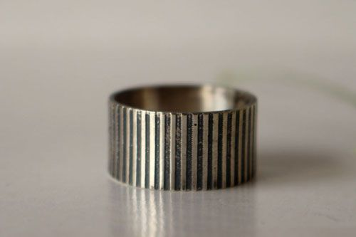 Black and white, stripe ring in sterling silver
